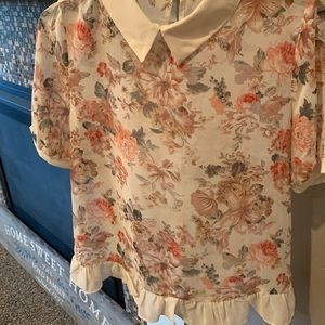 Tops - NWT floral sheer blouse